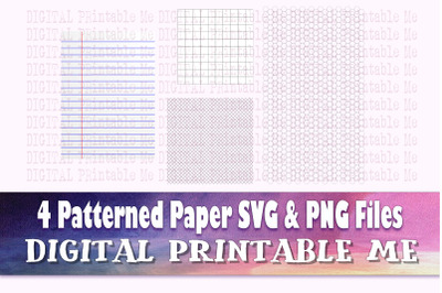 Stationary SVG PNG, 4 Images, Clip Art Pack, Ruled paper, Lined writin