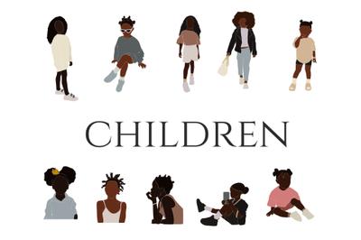 Abstract children, black child, vector people,black girl, boho  clipar