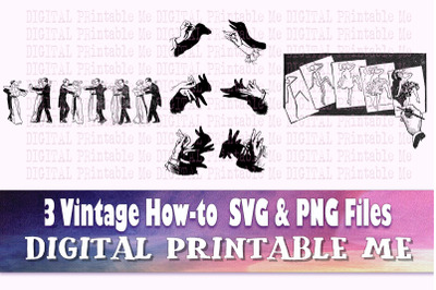 Vintage How To Poster SVG PNG, 3 Images, Clip Art Pack, dance lesson s