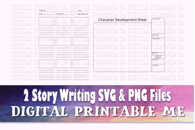 Story Writing Worksheet SVG PNG, 2 Images, Clip Art Pack, blank charac