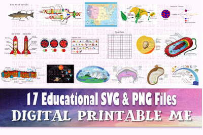 Educational Sign, SVG PNG 17 Images, Clip Art Pack, Teaching Diagrams,