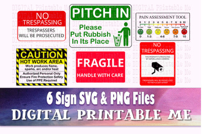 Information Sign, SVG PNG 6 Images, Clip Art Pack, Warning posters, Ca