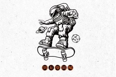 Spaceman Playing Skateboard Silhouette