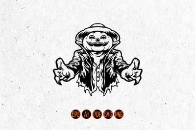 Halloween Jack O Lantern Terror Silhouette SVG