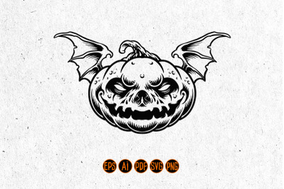 Halloween character the pumpkin head with bat wing