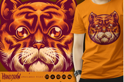 Cute Orange Cat Head Mascot SVG