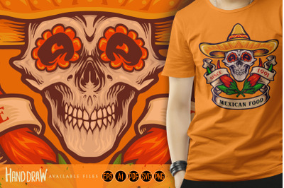 Mexican Food Skull Logo Chilli