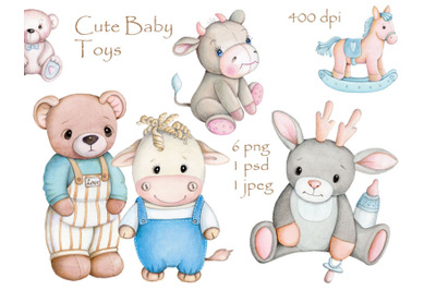Set of cute baby toys.  Watercolor.