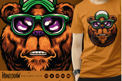 Cool Bear Head with Hat Glasses Holiday SVG Illustrations