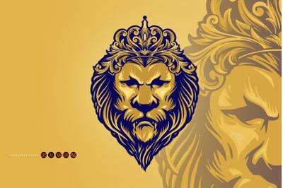 Vintage Gold Lion King with Ornament Crown SVG Illustrations