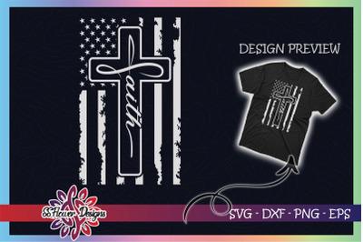 Faith cross USA Distressed Flag