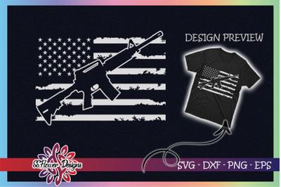 AR15 USA Distressed Flag Military Army