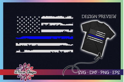 Thin Blue line US Flag Distressed
