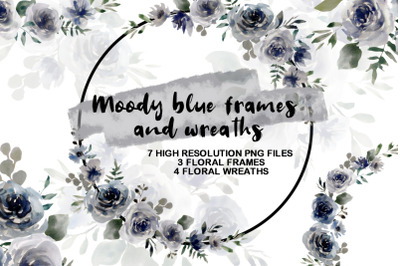 Moody Blue Frames and Wreaths, Floral Arrangements