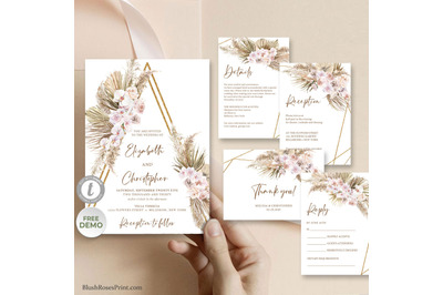 TYRAS - Dried Palm and Pampas Grass Wedding Suite, Dusty Rose Flowers