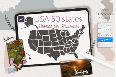 USA map 50 states stamps for Procreate