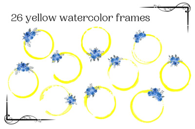Yellow watercolor circle frames with blue flowers