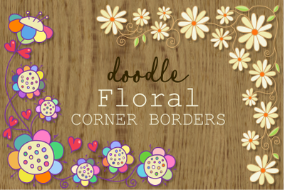 Hand Drawn Doodle Floral Borders
