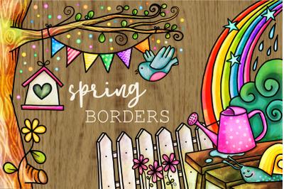 Spring Borders Watercolor Doodle Frames