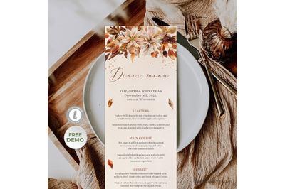 MONICS  FALL AND AUTUMN WEDDING MENU TEMPLATE BURNT ORANGE DINNER MENU