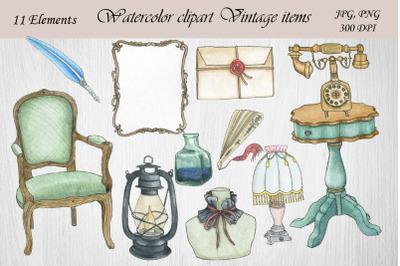 Watercolor Clipart Vintage.Beautiful antique.Retro style