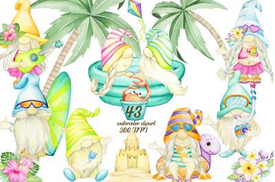 Gnomes , Watercolor Clipart, Beach Summer set, Pool Party, Hawaiian de