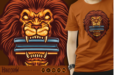 Lion head bite squeegee for screen printing mascot logo