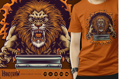 Angry Lion Jump Silk Screen Printing Mascot Logo