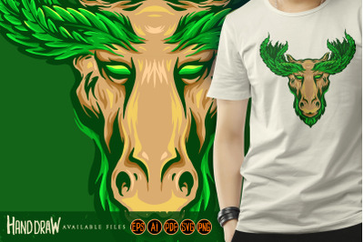 Deer with Marijuana Leaf Antlers Logo Mascot