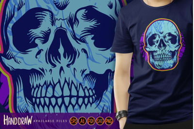 Psychedelic Head Skull Bones Illustrations