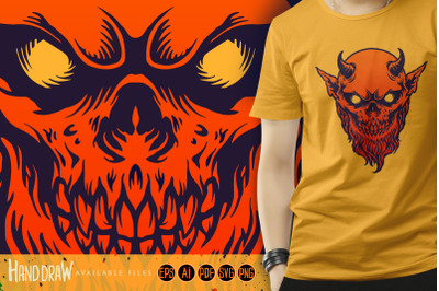 Red Devil Satan Horn with beard SVG
