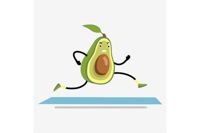 Avocado running or jogging on treadmill cartoon