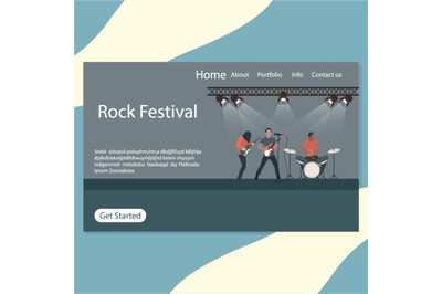 Rock festival landing page, stage of rock n roll and punk metal