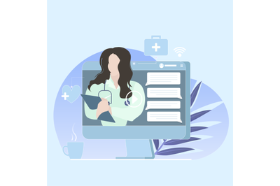 Online doctor consultation. Vector app to take care health