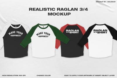 REALISTIC RAGLAN 3/4 MOCKUP