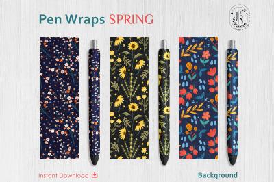 Spring Floral Pen Wraps PNG File Set