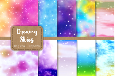 Dreamy Starry Cloudy Sky Digital Papers