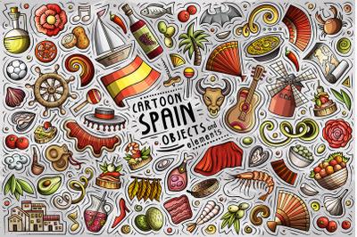 Spain Cartoon Objects Set