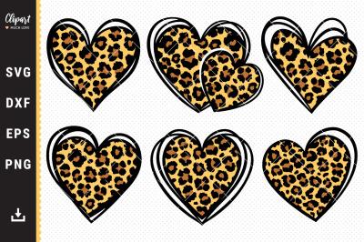 Leopard heart SVG, DXF, PNG. Leopard print cut files