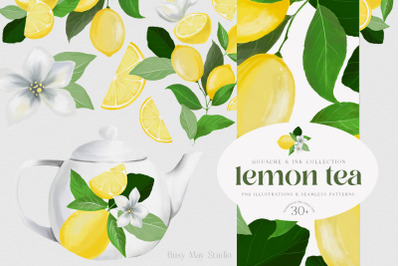 Lemon Gouache Illustrations and Seamless Patterns Summer PNG