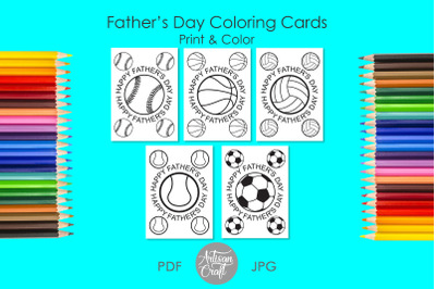 Fathers Day coloring card, Happy Fathers Day card
