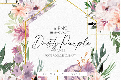 Dusty purple boho frames clipart, Watercolor peach and purple floral
