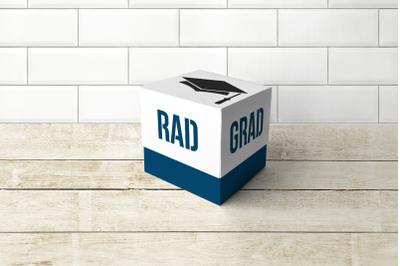 Graduation Cap Rad Grad Cube Box With Lid    SVG   PNG   DXF   EPS