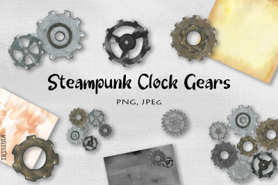 Hand-drawn Steampunk Clock Gears and Watercolor Background PNG