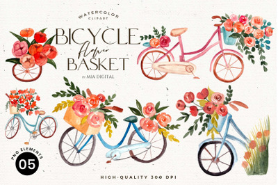 Bicycle with Flower Basket/Watercolor Flowers Clipart/Bike Hand Painti
