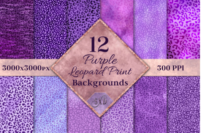 Purple Leopard Print Backgrounds - 12 Image Textures Set