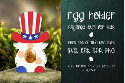 4th Of July Gnome Chocolate Egg Holder template SVG