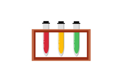 Medical Icon with Three Chemical Test Tube