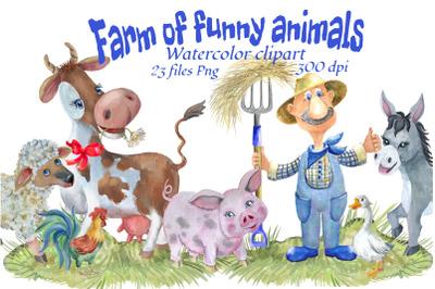 Farm funny animals.Watercolor clipart