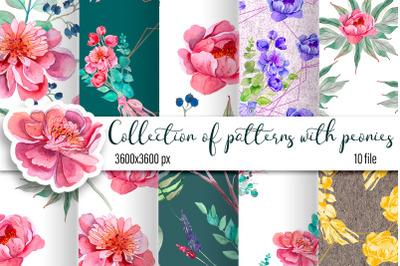 Peonies digital paper, seamless pattern